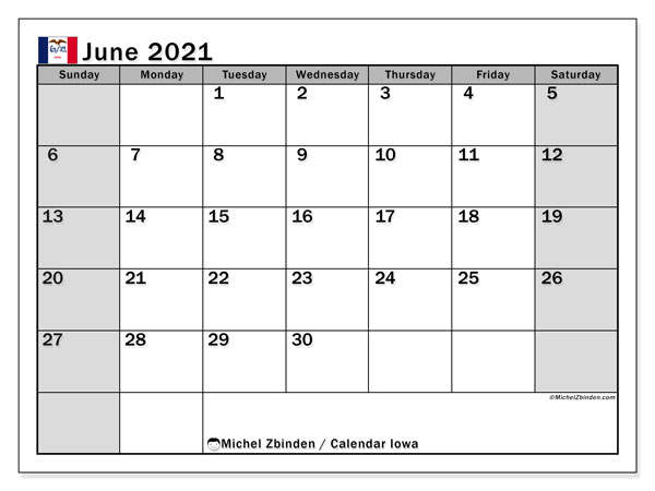 June 2021 Calendar, with the holidays of Iowa. Free printable calendar with public holidays.