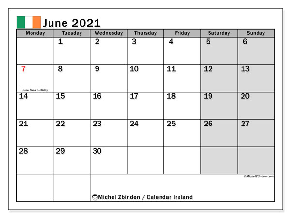 June 2021 Calendar, with the holidays of Ireland. Free printable calendar with public holidays.