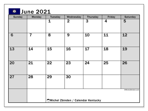 Calendar June 2021 - Kentucky. Public Holidays. Monthly Calendar and timetable to print free.