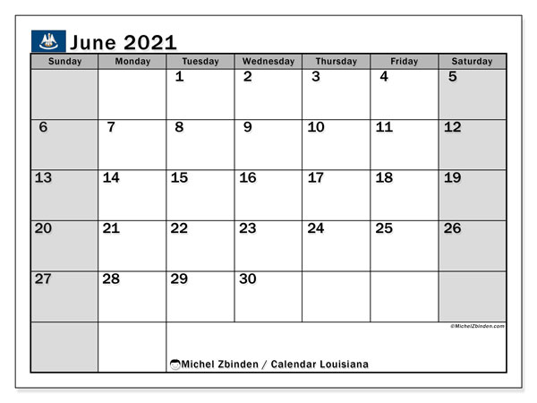 June 2021 Calendar, with the holidays of Louisiana. Free printable calendar with public holidays.