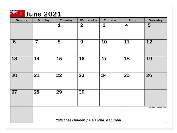 June 2021 Calendar, with the holidays of Manitoba. Free printable calendar with public holidays.