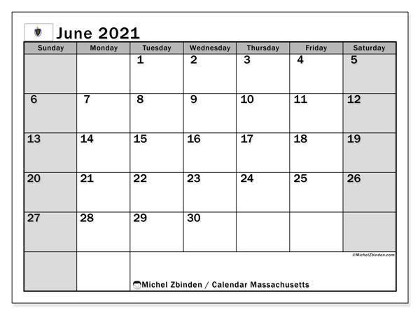 June 2021 Calendar, with the holidays of Massachusetts. Holidays calendar to print free.
