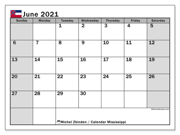 June 2021 Calendar, with the Mississippi holidays. Holidays calendar to print free.