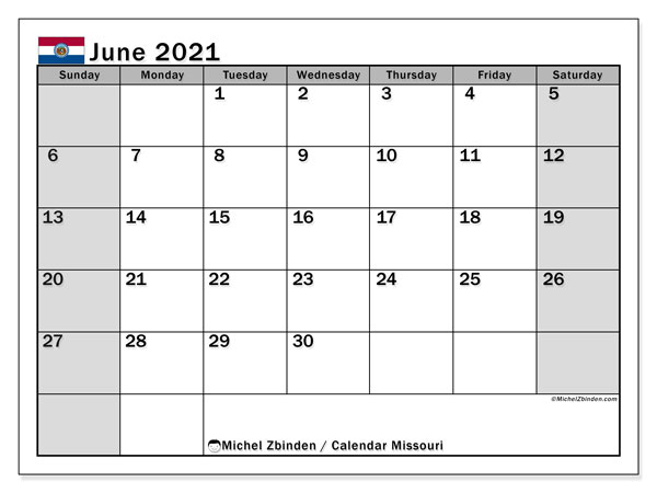 June 2021 Calendar, with the holidays of Missouri. Free printable calendar with public holidays.