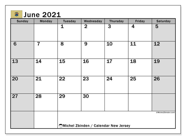 June 2021 Calendar, with the holidays of New Jersey. Free printable calendar with public holidays.