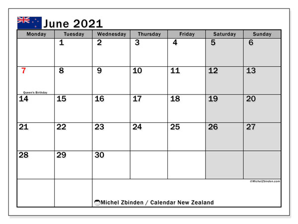 June 2021 Calendar, with the holidays of New Zealand. Holidays calendar to print free.