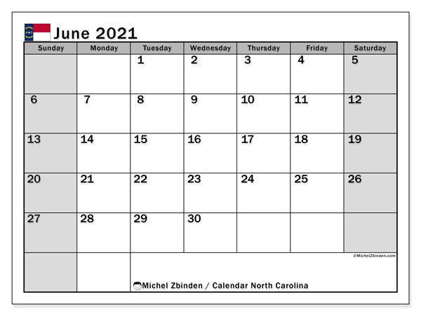June 2021 Calendar, with the holidays of North Carolina. Holidays calendar to print free.