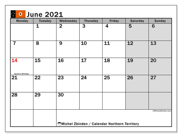 Calendar June 2021 - Northern Territory. Public Holidays. Monthly Calendar and free planner to print.