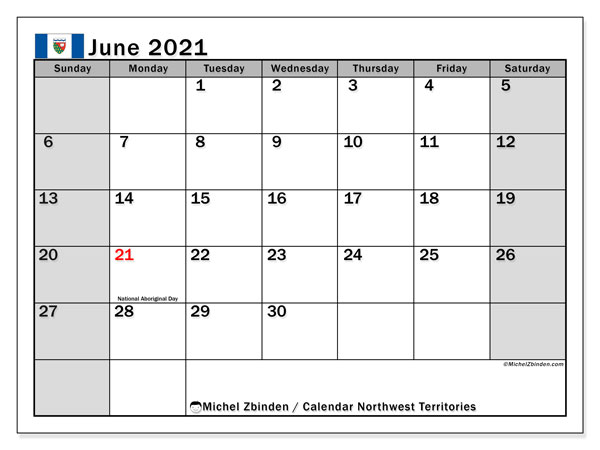 June 2021 Calendar, with the holidays of Northwest Territories. Free printable calendar with public holidays.