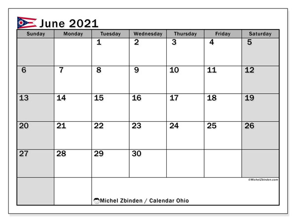 "Printable ""Ohio"" calendar with public holidays. Monthly June 2021 calendar and free agenda to print."