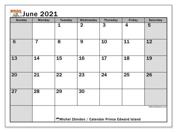 June 2021 Calendar, with the holidays of Prince Edward Island. Free printable calendar with public holidays.