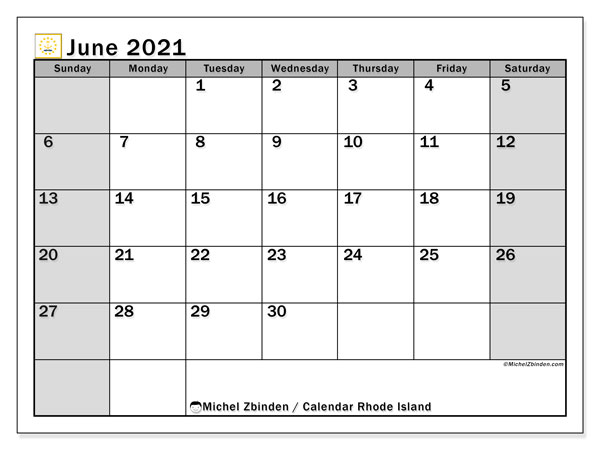 Calendar June 2021 - Rhode Island. Public Holidays. Monthly Calendar and free timetable to print.