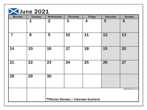 June 2021 Calendar, with the holidays of Scotland. Holidays calendar to print free.