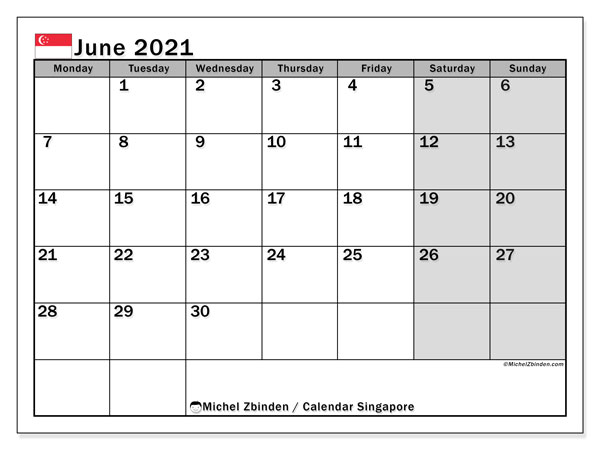 Printable calendars, June 2021, Public Holidays