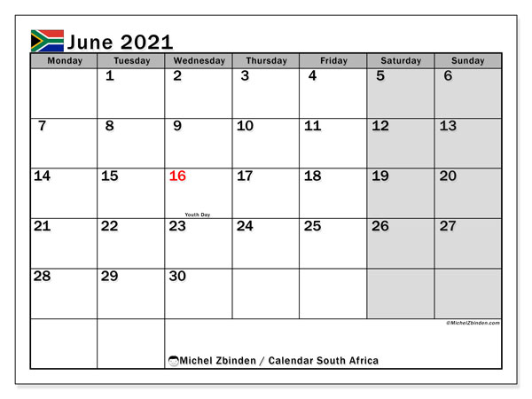 Calendar June 2021 - South Africa. Public Holidays. Monthly Calendar and free timetable to print.