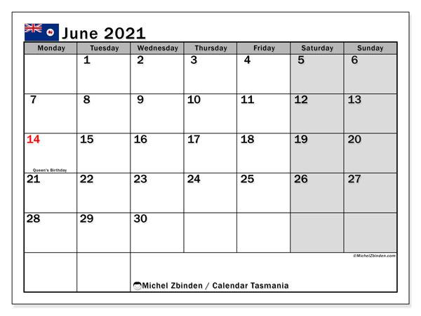 June 2021 Calendar, with the holidays of Tasmania. Free printable calendar with public holidays.