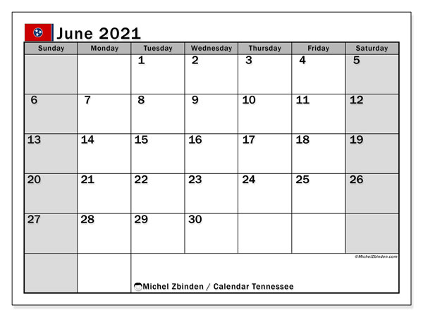 June 2021 Calendar, with the holidays of Tennessee. Free printable calendar with public holidays.
