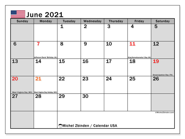 "Printable June 2021 ""USA"" Calendar   Michel Zbinden EN"