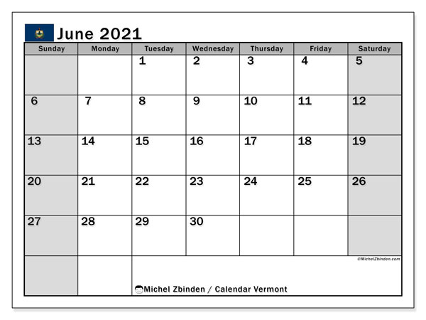 Calendar June 2021 - Vermont. Public Holidays. Monthly Calendar and free timetable to print.