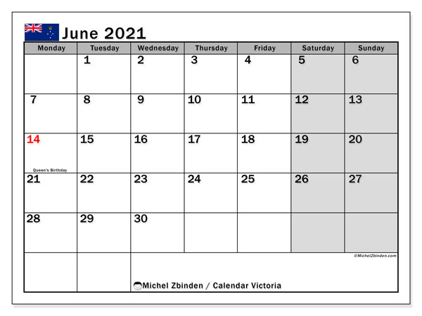 June 2021 Calendar, with the holidays of Victoria. Free printable calendar with public holidays.