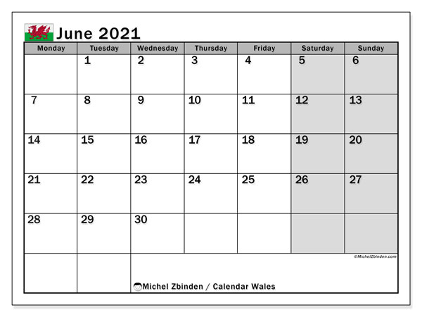 June 2021 Calendar, with the holidays of Wales. Holidays calendar to print free.