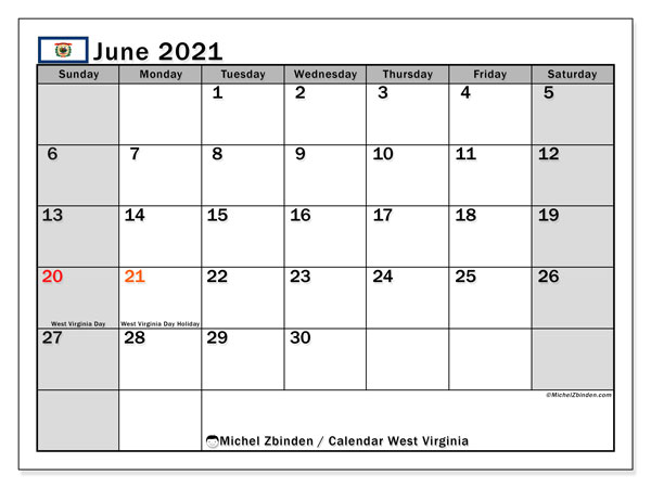 Calendar June 2021 - West Virginia. Public Holidays. Monthly Calendar and free printable schedule.