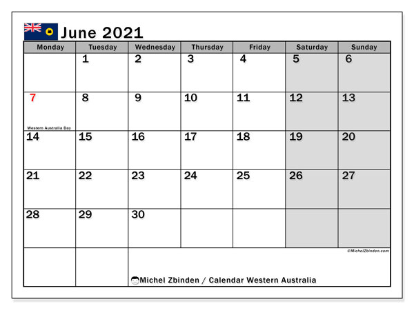 Calendar June 2021 - Western Australia. Public Holidays. Monthly Calendar and free printable schedule.