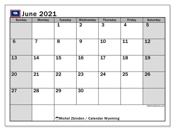 June 2021 Calendar, with the holidays of Wyoming. Holidays calendar to print free.