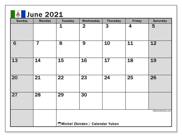 Calendar June 2021 - Yukon. Public Holidays. Monthly Calendar and schedule to print free.