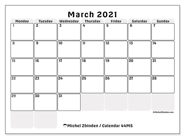 March 2021 Calendar, 44MS. Free bullet journal to print.