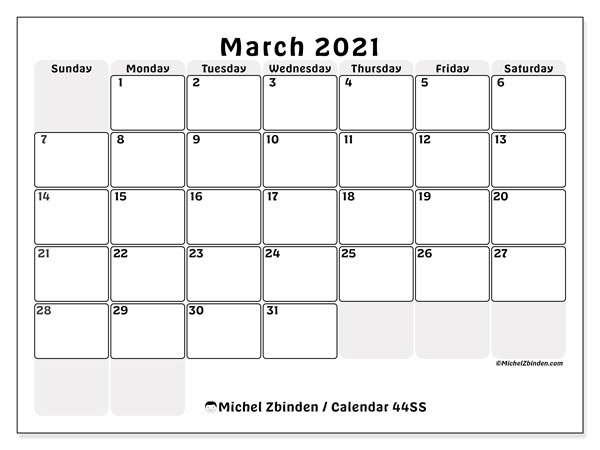 March 2021 Calendar, 44SS. Free printable monthly planner.