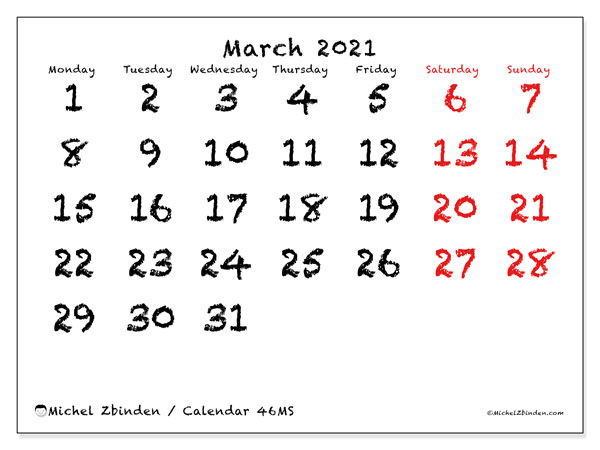 March 2021 Calendar, 46MS. Monthly planner to print free.