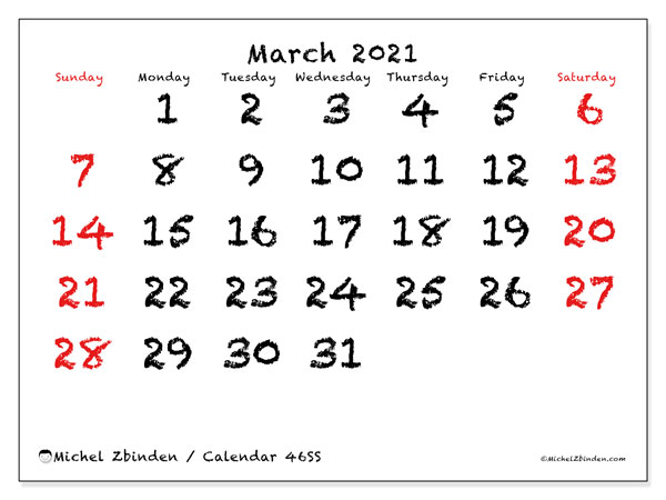 March 2021 Calendar, 46SS. Monthly calendar to print free.