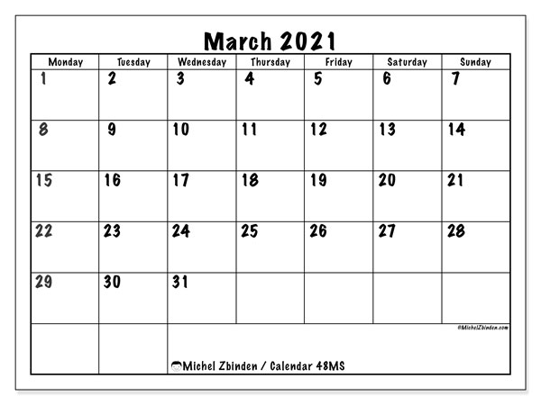 March 2021 Calendar, 48MS. Calendar for the month to print free.