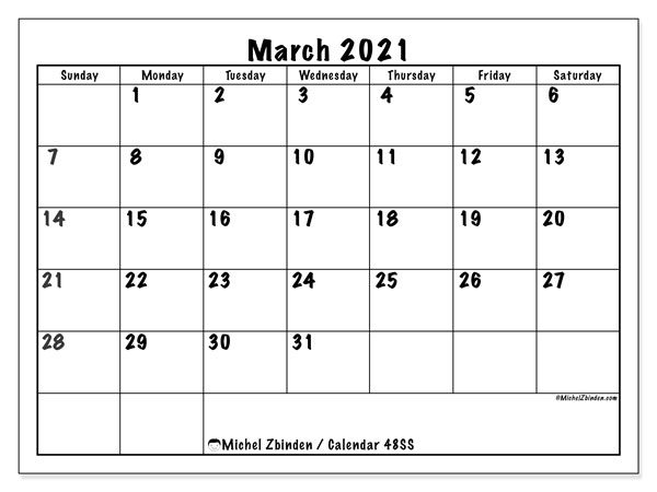 March 2021 Calendar, 48SS. Free printable planner.