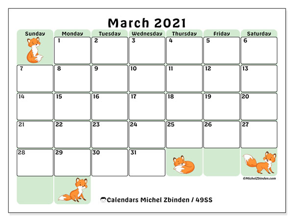 Calendar March 2021 - 49SS. Little foxes. Monthly Calendar and free printable planner.