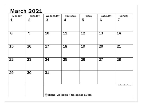 March 2021 Calendar, 50MS. Free printable planner.