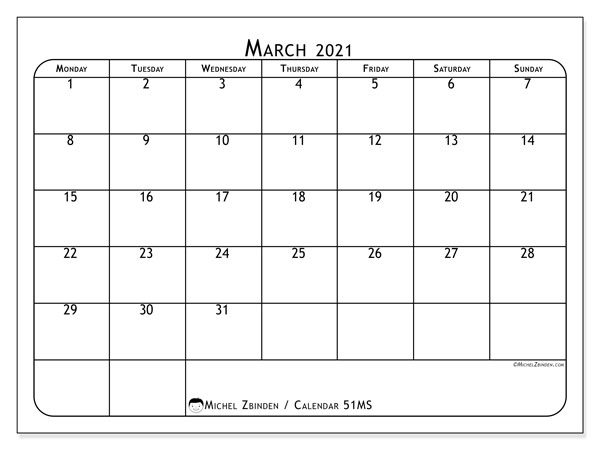 March 2021 Calendar, 51MS. Monthly planner to print free.