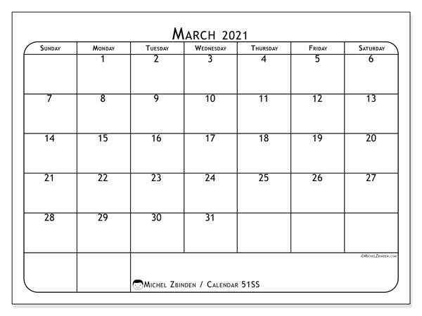 Calendar March 2021 - 51SS. Popular. Monthly Calendar and free printable timetable.