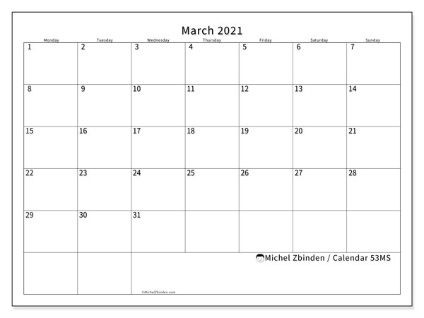 March 2021 Calendar, 53MS. Free printable monthly planner.