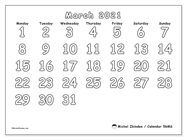 Calendar March 2021 - 56MS. Colouring. Monthly Calendar and free planner to print.