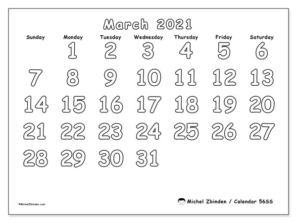 March 2021 Calendar, 56SS. Free printable calendar.