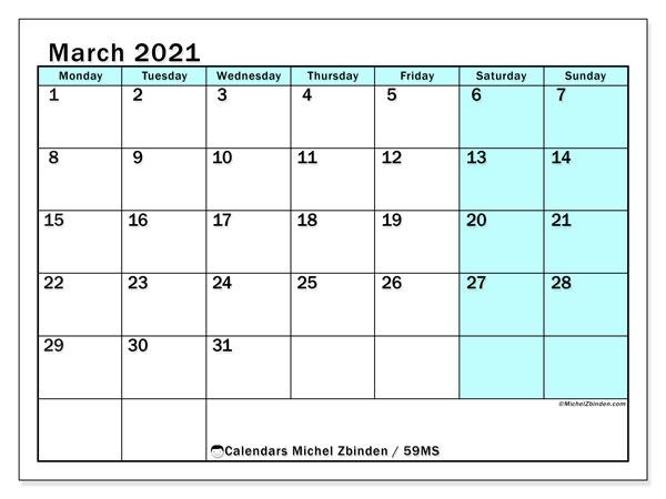 March 2021 Calendar, 59MS. Free printable bullet journal.