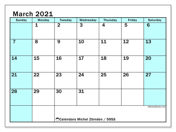 Calendar March 2021 - 59SS. South Turquoise. Monthly Calendar and free printable agenda.