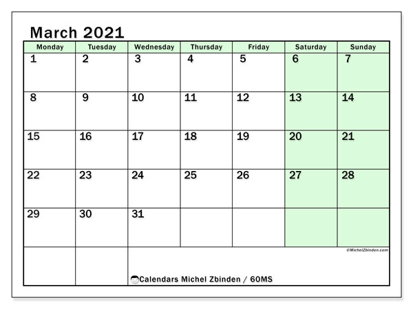 March 2021 Calendar, 60MS. Free printable monthly planner.