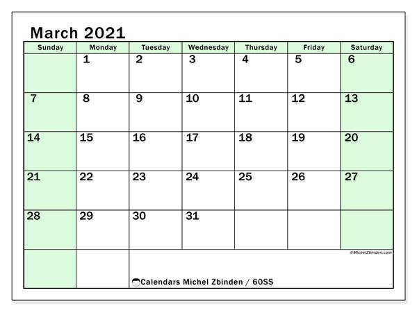 March 2021 Calendar, 60SS. Free printable calendar.