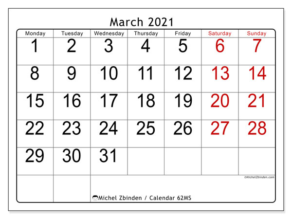 March 2021 Calendar, 62MS. Free calendar to print.