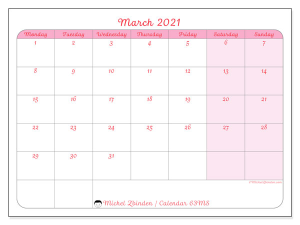 March 2021 Calendar, 63MS. Free planner to print.