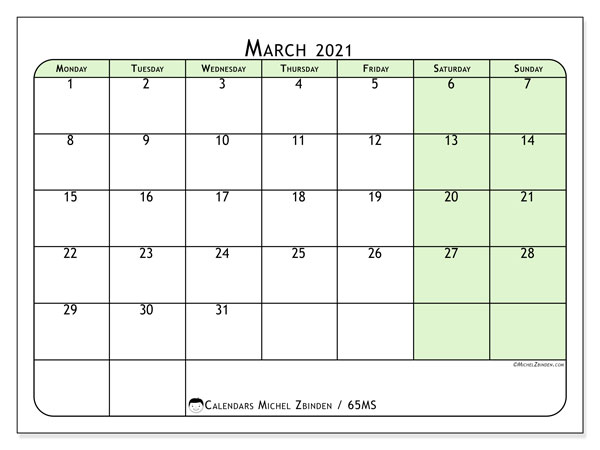 March 2021 Calendar, 65MS. Monthly calendar to print free.
