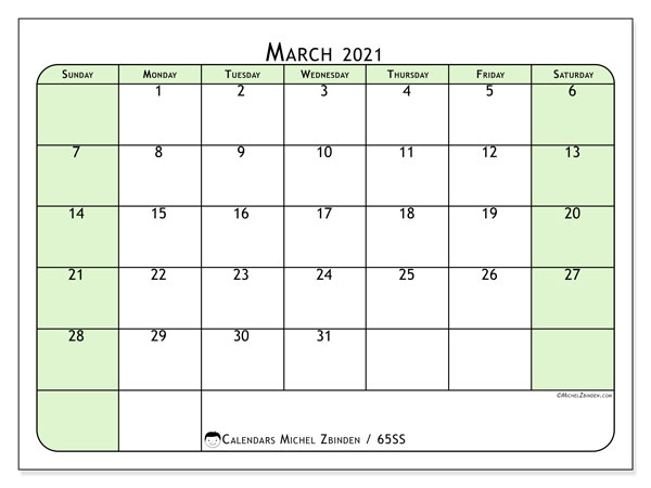 March 2021 Calendar, 65SS. Free printable bullet journal.
